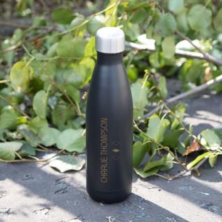 Laser Engraved Black Thermos Bottle. Diamond Design. Any Name