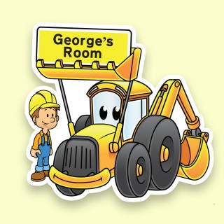 Yellow Digger Personalised Bedroom Door Sign