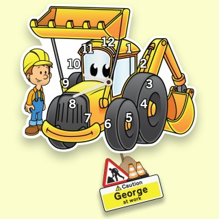 Yellow Digger Personalised Pendulum Wall Clock for Boys