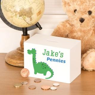 Little Boys Personalised Dinosaur Wooden Moneybox