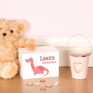 Little Girls Personalised Dinosaur Wooden Moneybox