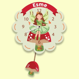 Customised Childrens Fairy Clock with Pendulum