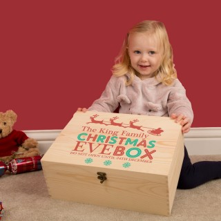 Personalised Family Wooden Christmas Eve Box. Colour Print