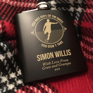 Football themed laser engraved Hip Flask Presentation Gift Set