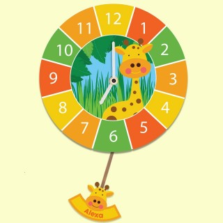 Personalised Jungle Themed Giraffe Educational Pendulum Wall Clock