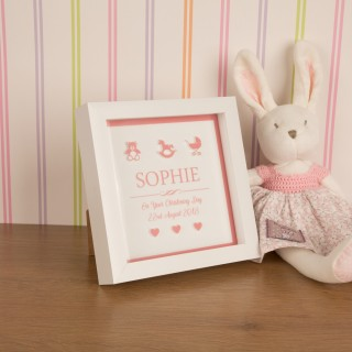 Bespoke 3D Keepsake Christening Box Frame for a Baby Girl