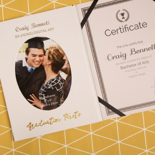 Personalised Graduation Certificate and Photo Holder with Name, Degree and Message