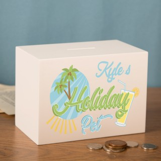 Holiday Pot Personalised Wooden Moneybox