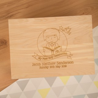 Personalised Laser Engraved 1st Communion Keepsake Box for a Boy