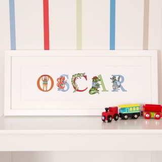 Personalised Illustrated Childrens Name Frame