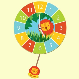 Bespoke Jungle Lion Personalised Kids Wall Clock