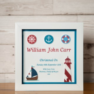 Bespoke 3D Nautical Christening Keepsake Box Frame