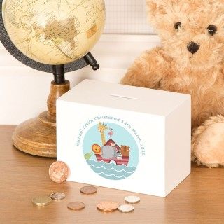 Noahs Ark Personalised Christening Gift Money Box