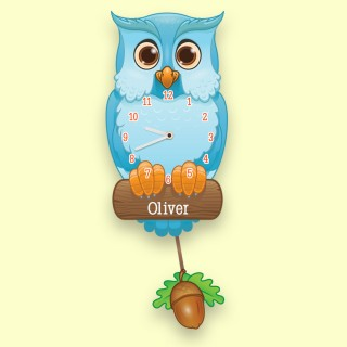 Baby Boy Personalised Nursery Pendulum Wall Clock. Blue Owl