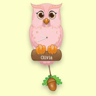 Personalised Pink Owl Pendulum Wall Clock for a little girl