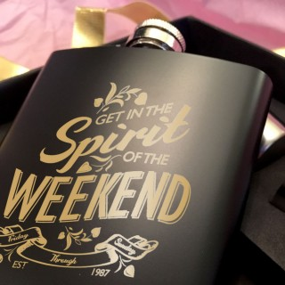 "Customised ""Spirit of the Weekend"" Hip Flask Gift Set"