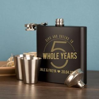 5th Wedding Anniversary Personalised 6oz Steel Hipflask