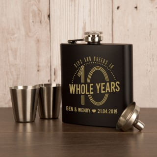 Engraved Stainless Steel 10th Wedding Anniversary 6oz Hipflask