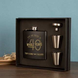 Laser Engraved 40th Wedding Anniversary Gift Boxed Hipflask
