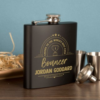 Bouncer Gift Idea. Personalised Engraved Black Hipflask Gift Set