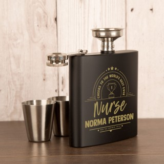 Personalised Engraved Nurse Hip Flask Gift Set