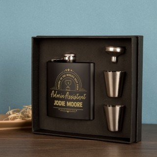 Admin Assistant Gift Idea. Personalised Engraved Hipflask Gift Set