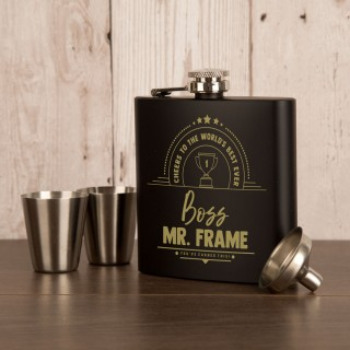 Laser Engraved Worlds Best Ever Boss 6oz Steel Hipflask Gift Set