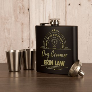 Dog Groomer Anodised Black Engraved Hip Flask Gift Set