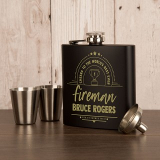 Customised Fireman Engraved Black Hip Flask Set