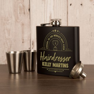 Hairdresser Occupation Personalised Hipflask Gift Set Gift