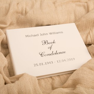 Personalised Hard Back Silver Foil Printed Book of Condolence
