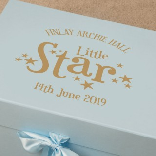 Little Star Personalised Foil Printed Blue Memory Box for a Baby Boy