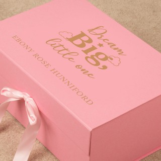 Dream Big Personalised Pink Keepsake Box for a Little Girl