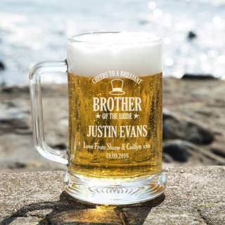 Laser Engraved Brother of the Bride Personalised Glass Beer Tankard