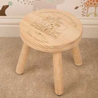 Personalised Farmyard Wooden Stool for Boy or Girl: Christening