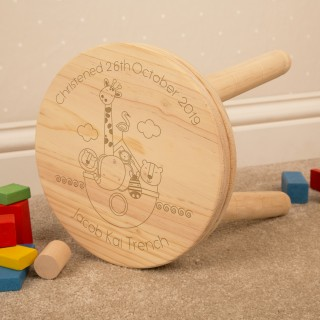 Noahs Ark Personalised Wooden Stool for Boy or Girl: Christening