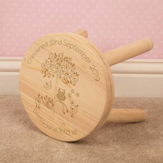 Owl Customised Wooden Stool for Boy or Girl: Christening