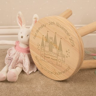 Personalised Girls First Birthday Princess Castle Stool