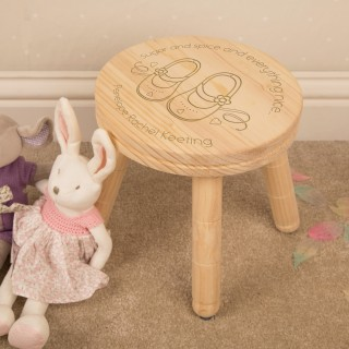 Girls Are Made of...Engraved Stool Personalised with Name