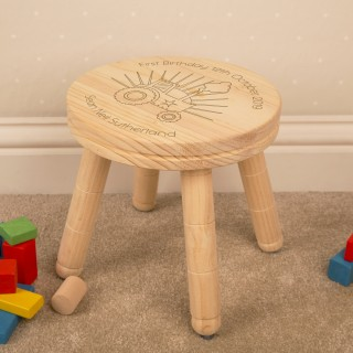 Personalised Engraved Boys 1st Birthday Tractor Stool