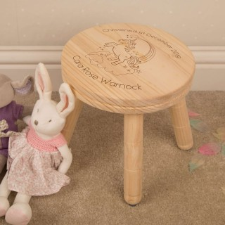 Personalised Unicorn Wooden Stool for a Little Girl