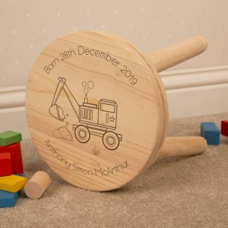Construction Digger Design Kids Personalised Wooden Stool