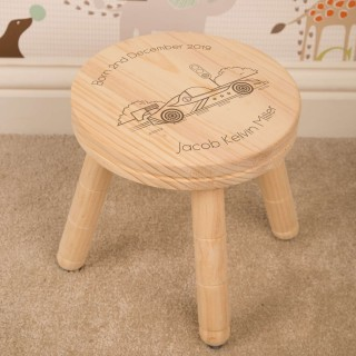 Racing Car Personalised Laser Engraved Wooden Stool for Boys or Girls