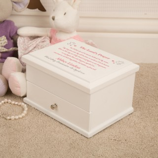 Pink Lords Prayer Holy Communion Jewellery Box for a Girl