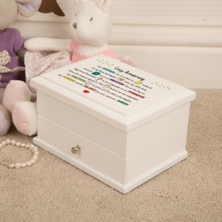 Personalised First Holy Communion Jewellery Box. Lords Prayer Multicoloured