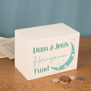 Honeymoon Gift Idea. Personalised Wooden Money Box