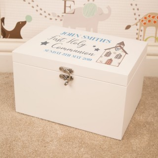 Personalised First Holy Communion White Keepsake Box for a Boy. Church Design.