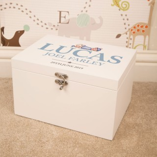 Illustrated Baby Boy Design Personalised White Keepsake Box