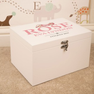 Illustrated Baby Girl Design Personalised White Keepsake Box