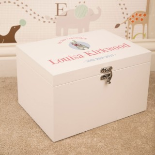 Baby Girl Christening Keepsake Box. Custom Rabbit Design
